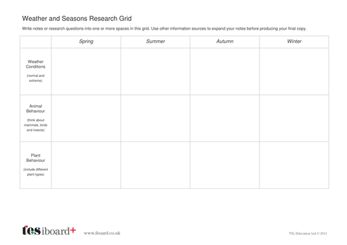 Weather and Seasons Research Grid - KS2 Literacy