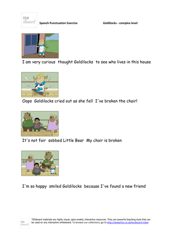 Goldilocks Dialogue Punctuator Worksheet (Complex) - KS1/KS2 Literacy