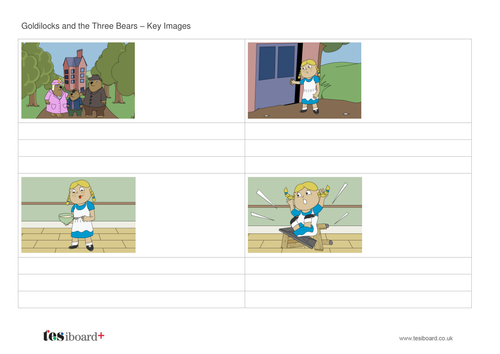 Goldilocks Storyboard Worksheet - KS1 Literacy