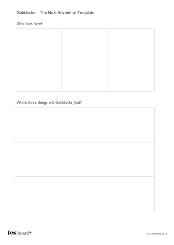 New Chapter Story Template - Goldilocks - KS1 Literacy