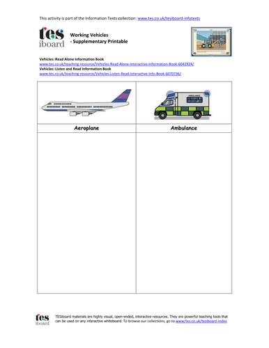 Information Worksheet - Vehicles - KS1/KS2 Literacy