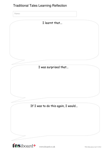 Learning Reflection Template - KS1 Literacy