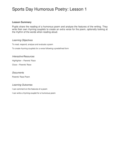 Lesson Plan - Poem Evaluation and Rhyming Couplets - Sports Day  - KS2 Literacy