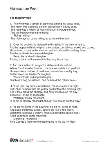 highwayman poem ks2 literacy by tes elements teaching resources. Black Bedroom Furniture Sets. Home Design Ideas