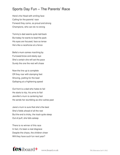 Sports Day Fun Poem - KS2 Poetry