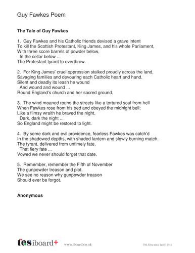 Guy Fawkes Poem and Comprehension Worksheet - KS2 Literacy