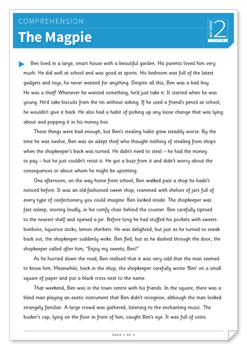 The Magpie - Text and Questions Exercise - Year 4 Reading Comprehension (Fiction)
