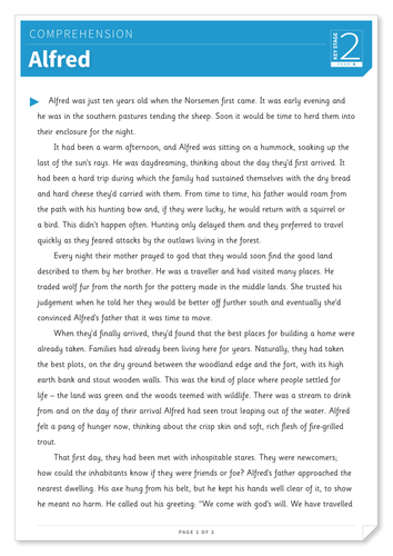 Alfred - Text and Questions Exercise - Year 6 Reading Comprehension (Fiction)