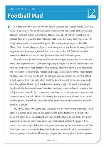 Football Mad - Text and Questions Exercise - Year 4 Reading Comprehension (Non-fiction)