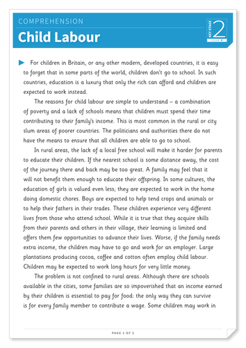 Child Labour - Text and Questions Exercise - Year 4 Reading Comprehension (Non-fiction)