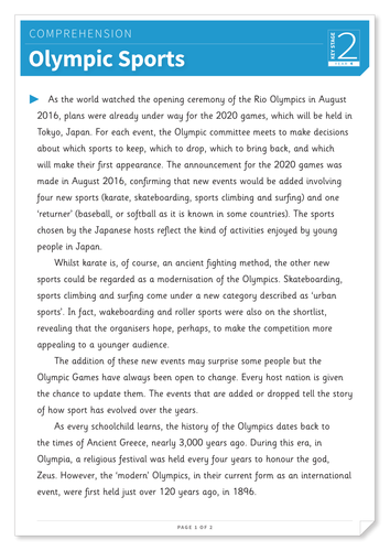 Olympic Sports - Text and Questions Exercise- Year 4 Reading Comprehension (Non-fiction)