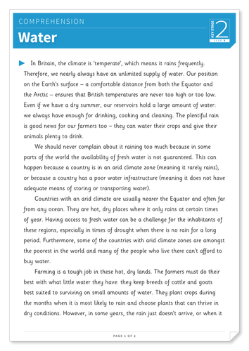 Water - Text and Questions Exercise - Year 4 Reading Comprehension (Non-fiction)