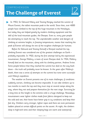 The Challenge of Everest - Text and Questions Exercise - Year 5 Reading Comprehension (Non-fiction)