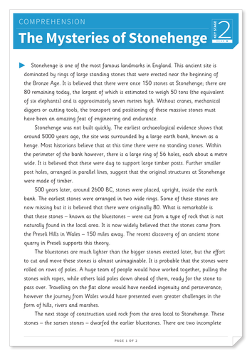 Mysteries of Stonehenge - Text and Questions Exercise - Year 6 Reading Comprehension (Non-fiction)