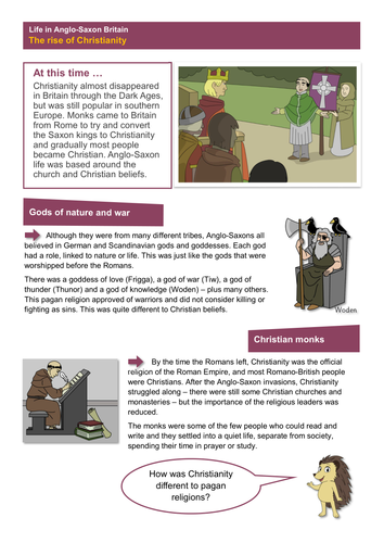 The Rise of Christianity - Worksheet - Anglo-Saxon Britain KS2