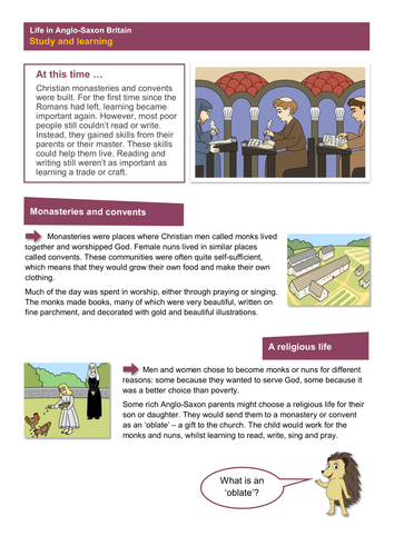 Study and Learning - Worksheet - Anglo-Saxon Britain KS2