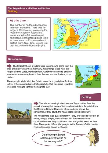 Settling - Worksheet - Anglo-Saxon Britain KS2