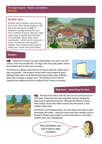 Raiding - Worksheet - Anglo-Saxon Britain KS2