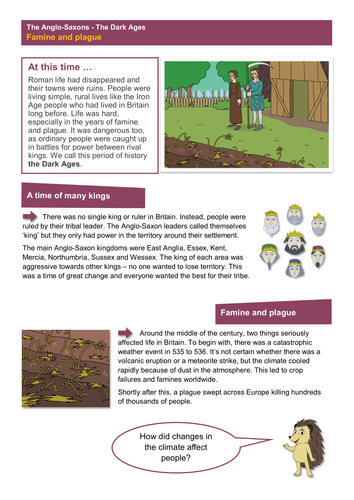 Famine and Plague - Worksheet - Anglo-Saxon Britain KS2