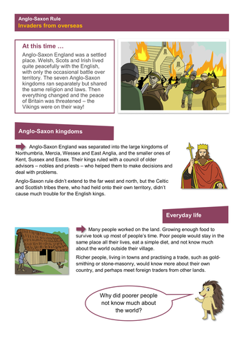 A New Threat to the Nation - Worksheet - Anglo-Saxon Britain KS2