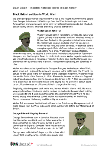 WW1 Officers - Profile and Writing Task - Black History in Britain KS2