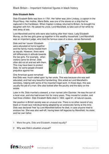 Dido Elizabeth Belle - Profile and Writing Task - Black History in Britain KS2