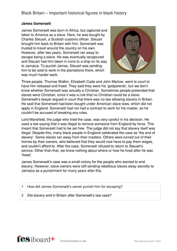 James Somersett - Profile and Writing Task - Black History in Britain KS2