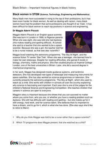 Maggie Aderin-Pocock - Profile and Writing Task - Black History in Britain KS2
