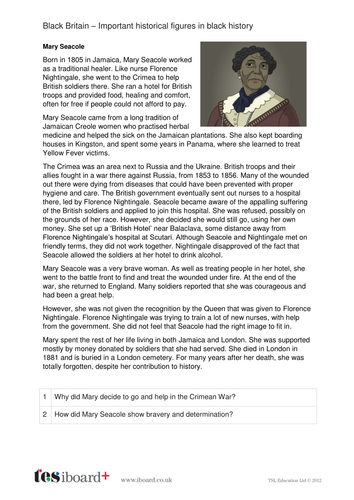 Mary Seacole - Profile and Writing Task - Black History in Britain KS2