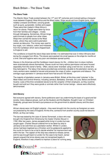 The Slave Trade Information Sheet - Black History in Britain KS2