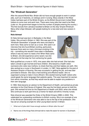 Nola Ishmael - Profile and Writing Task - Black History in Britain KS2