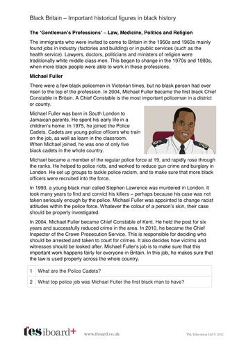 Michael Fuller - Profile and Writing Task - Black History in Britain KS2