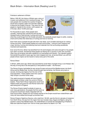 Comprehension Text and Question Worksheet (Reading Level C) - Black History in Britain KS2