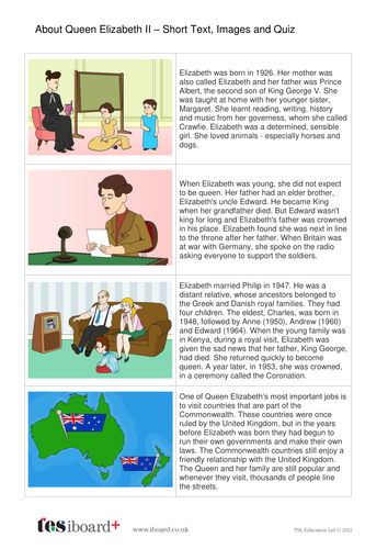 Comprehension Text and Question Worksheet (Reading Level A) - About Queen Elizabeth II KS1