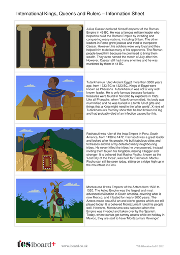 International Kings and Queens Information Sheet - Kings, Queens and Rulers KS2