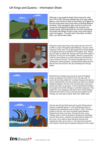 British Kings and Queens Information Sheet - Kings, Queens and Rulers KS2