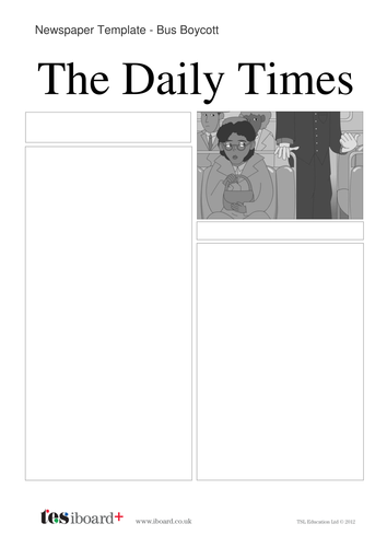 Newspaper Template: Bus Boycott - Martin Luther King Jr. KS2