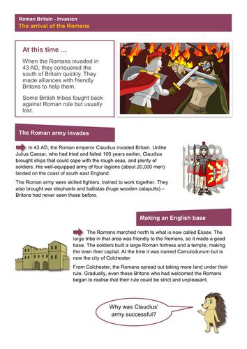 The Arrival of Romans - Worksheet - Roman Britain KS2