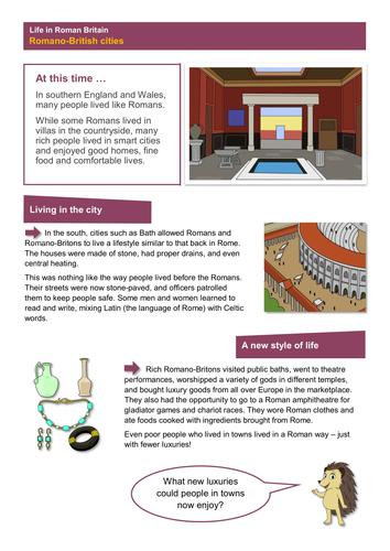 Romano-British Cities - Worksheet - Roman Britain KS2