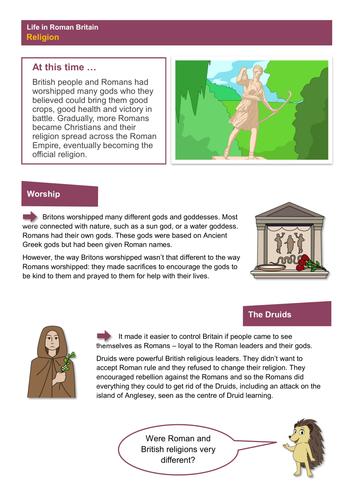 Religion - Worksheet - Roman Britain KS2