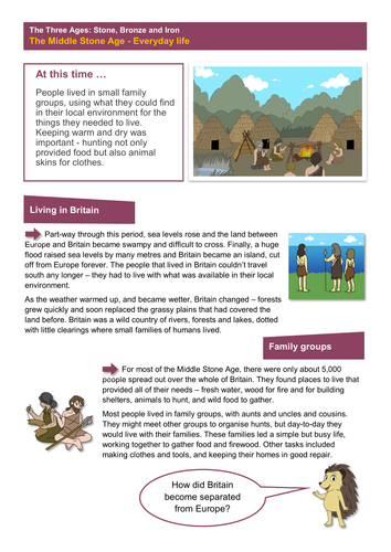 The Middle Stone Age: Everyday Life - Worksheet - The Stone Age KS2