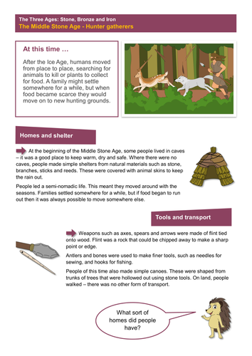 Hunter-Gatherers - Worksheet -  The Stone Age KS2