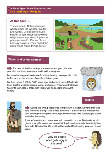 Religion - Worksheet - The Bronze Age KS2