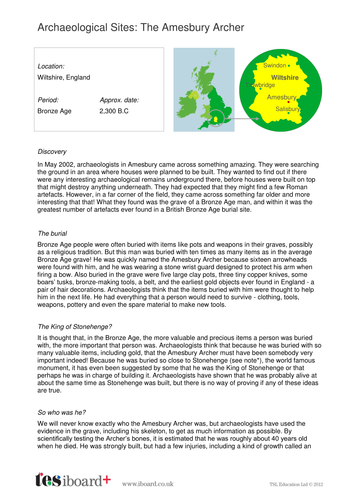 The Amesbury Archer Archaeological Site Information Sheet - The Bronze Age KS2