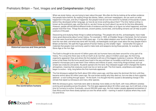 Comprehension Text and Question Worksheet (Reading Level D) - About Prehistoric Britain KS2