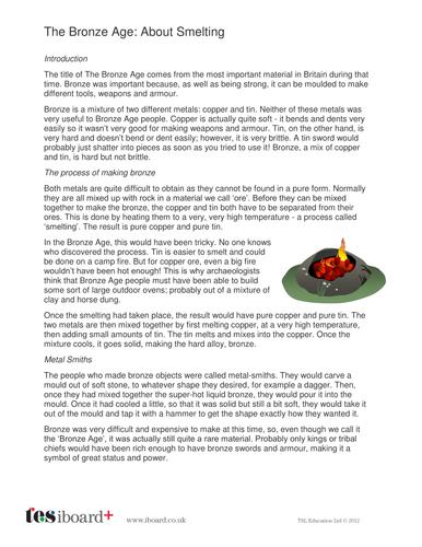 About Smelting Information Sheet - The Bronze Age KS2
