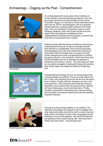 About Archaeology - Information Sheet and Comprehension Questions - KS2