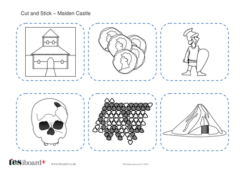 Cut and Stick Activity - Maiden Castle - The Iron Age KS2