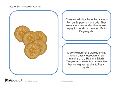 Card Sorting Activity  - Maiden Castle - The Iron Age KS2