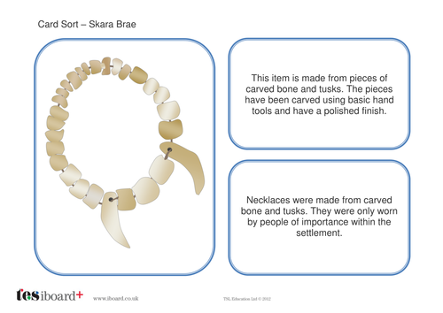Card Sorting Activity  - Skara Brae - The Neolithic Age KS2